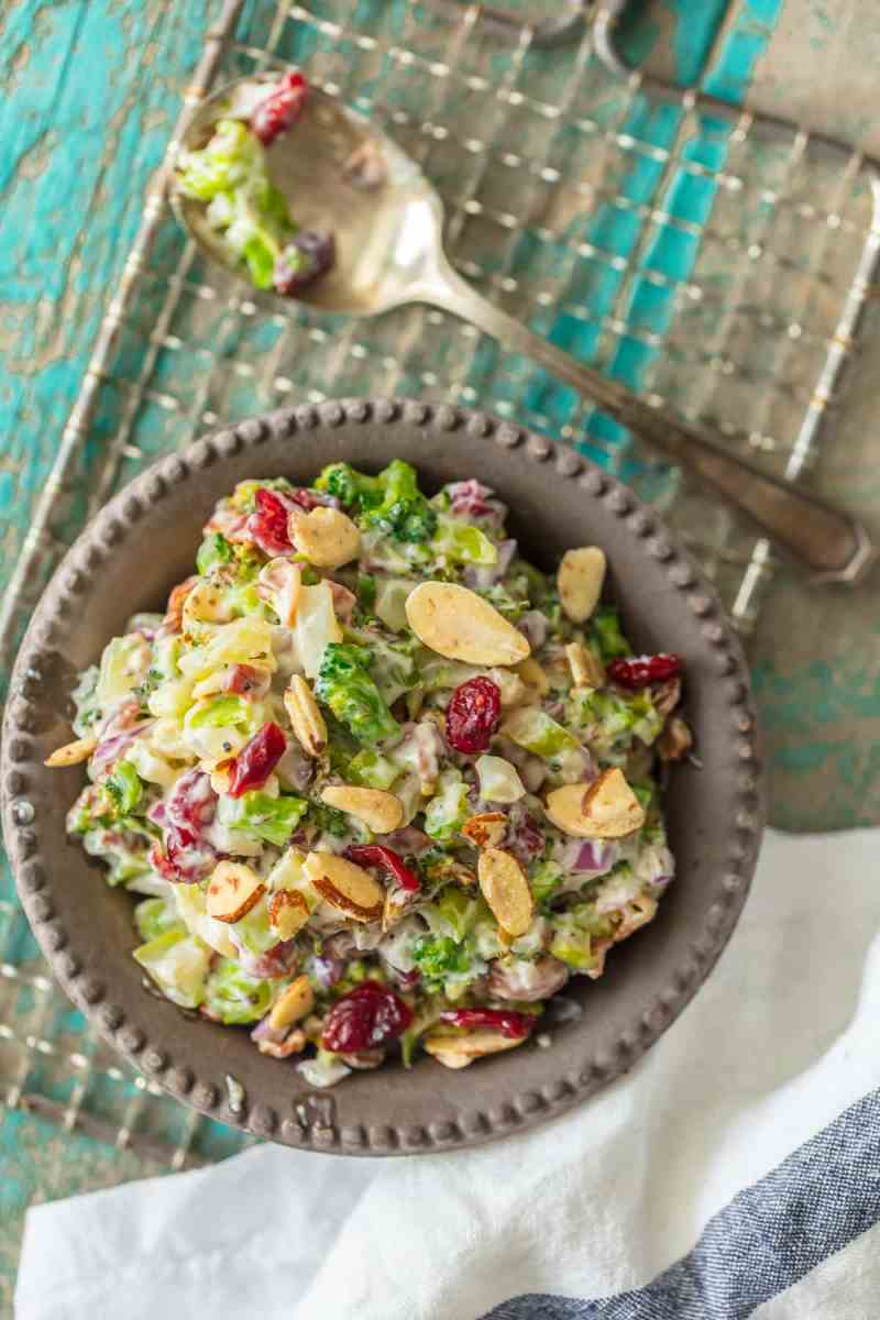 Broccoli Salad recipe with almonds, cranberries, and bacon