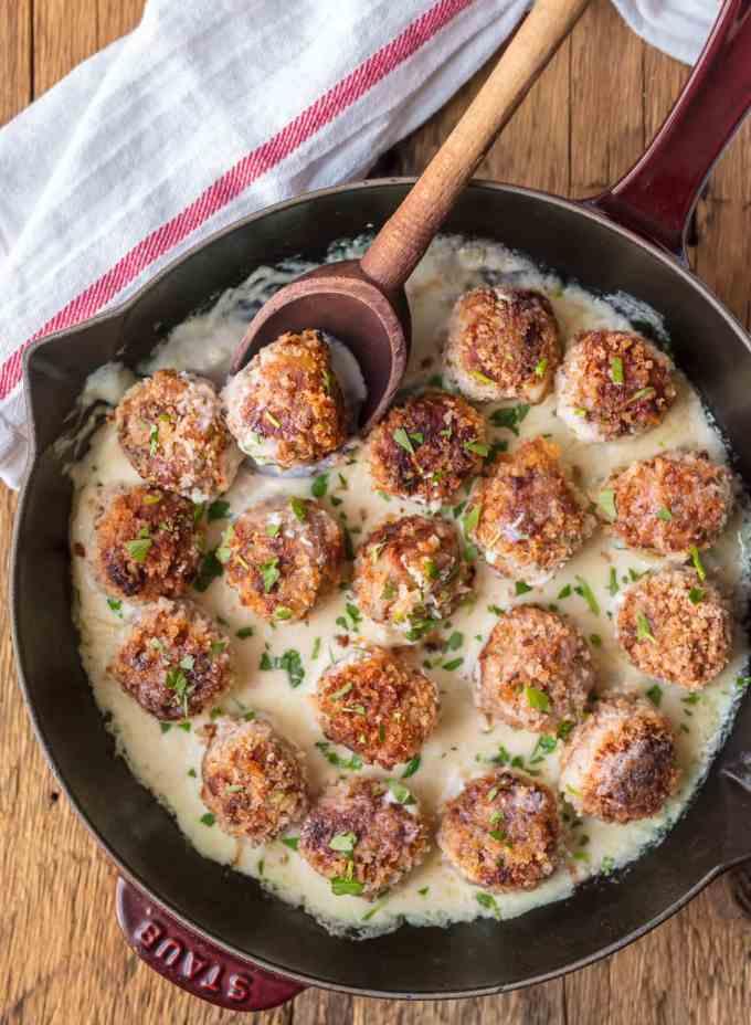 Chicken Cordon Bleu Meatballs in Creamy Dijon Sauce