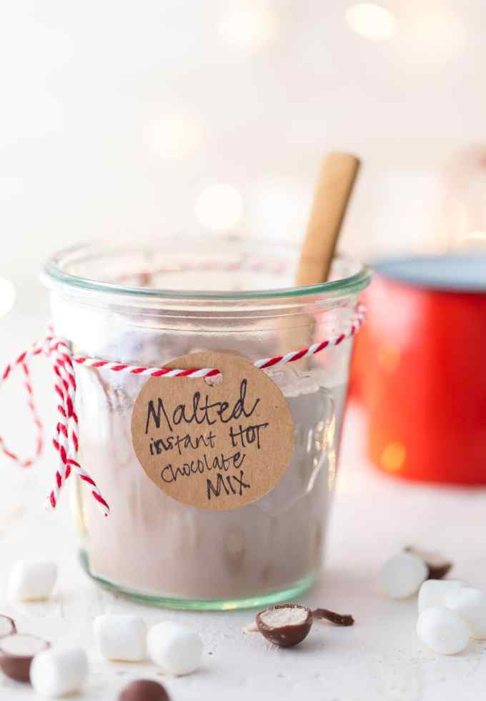 Malted Hot Chocolate Mix in a jar