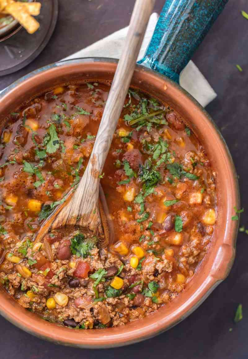 Easy tortilla soup recipe with beef, corn, beans, and more