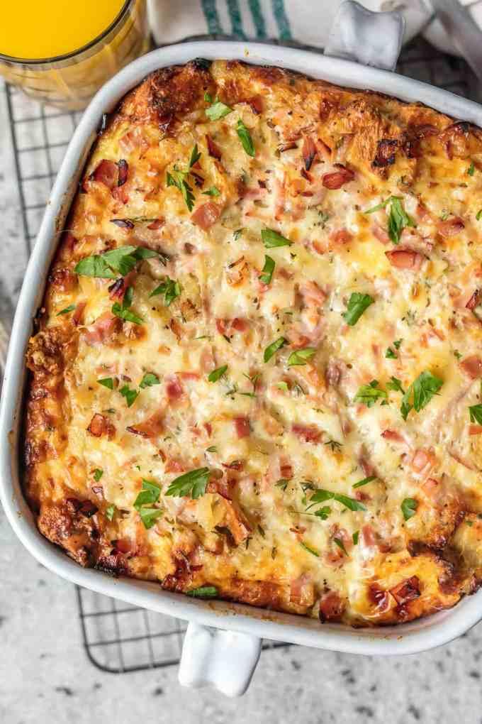 Cheesy ham and egg casserole recipe