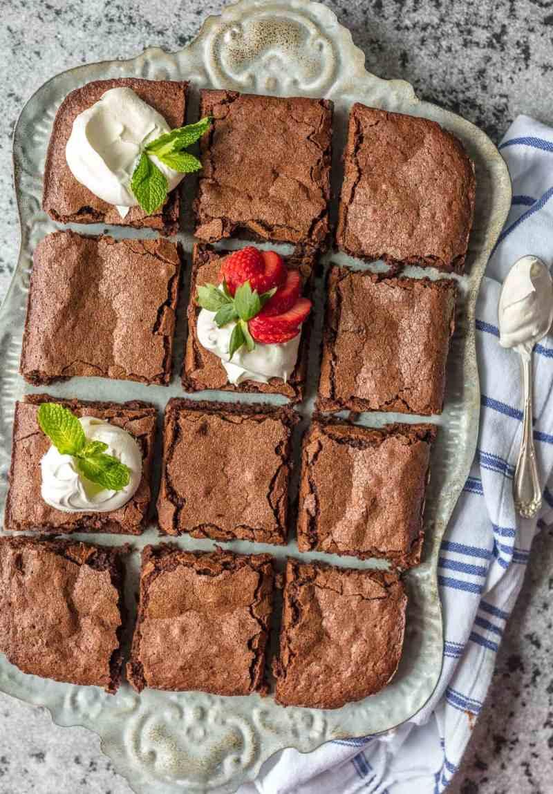 sliced brownies on a serving platter