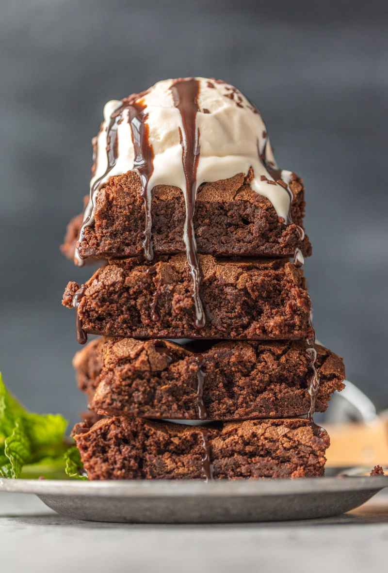 a stack of homemade brownies