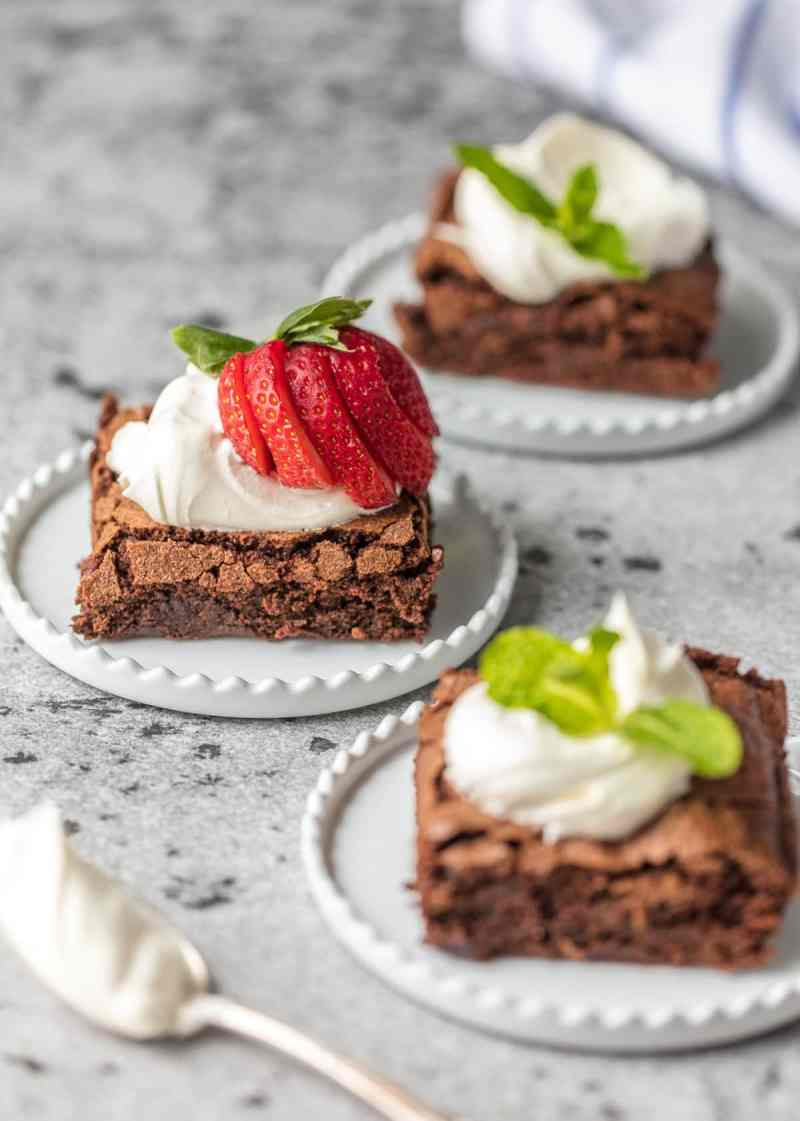 brownies made from scratch on small plates