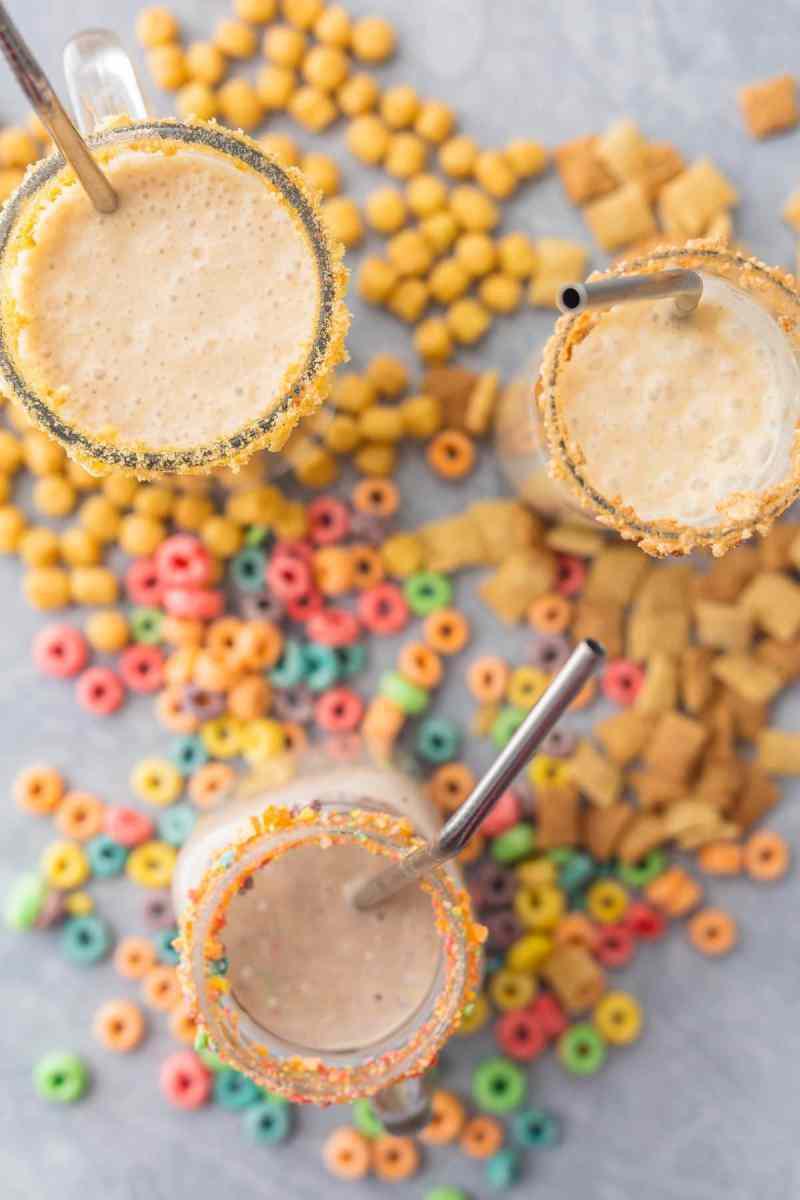 Cereal Milk Breakfast Smoothies surrounded by cereal