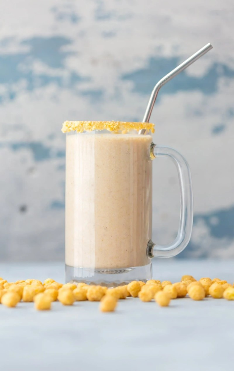 Peanut Butter and banana smoothie made with breakfast cereal