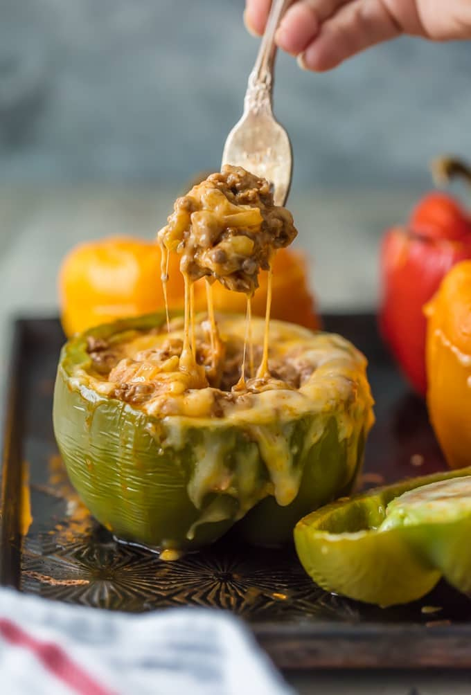 easy stuffed peppers with cheese pull