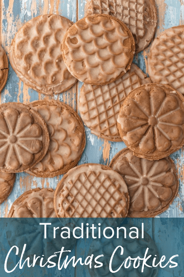 picture of gingerbread cookies with text overlay: Traditional Christmas Cookies