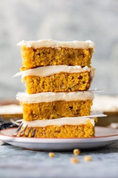 This CARROT CAKE BARS RECIPE has a secret ingredient, carrot baby food! You'll never believe how moist, simple, and delicious this EASY Carrot Cake can be. Try not to eat all the perfect cream cheese icing before piling it on and serving to your Easter guests. Best Carrot Cake Recipe ever!
