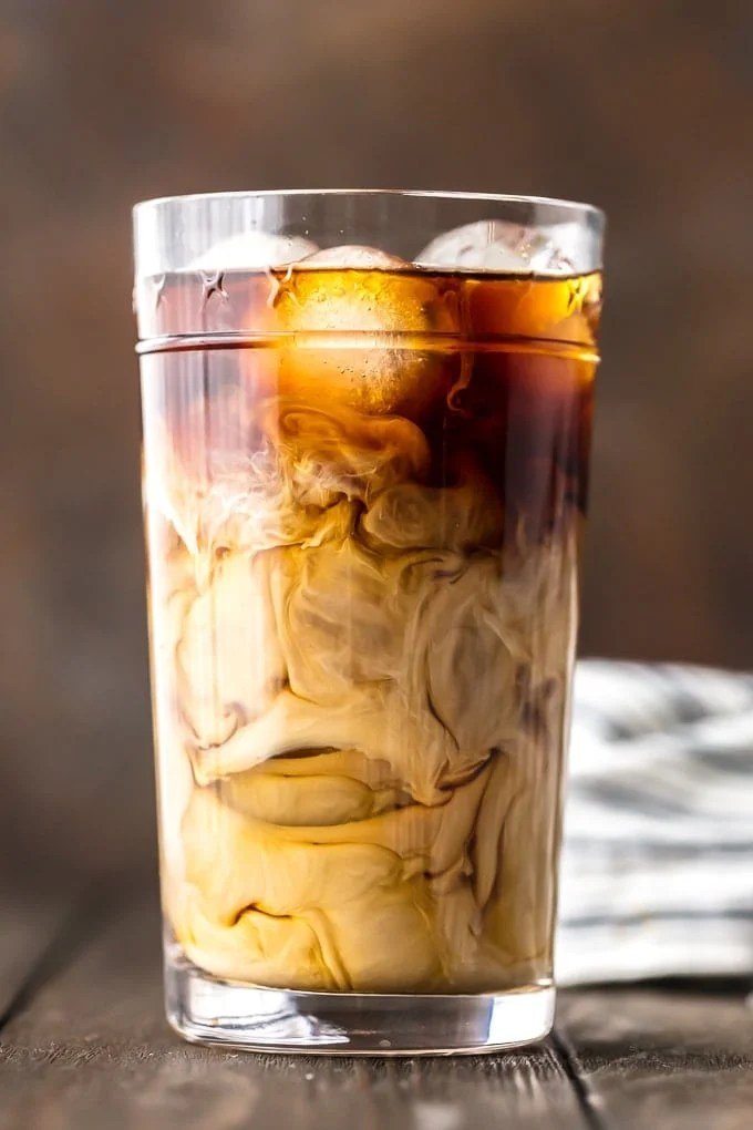 iced coffee with cream in a glass