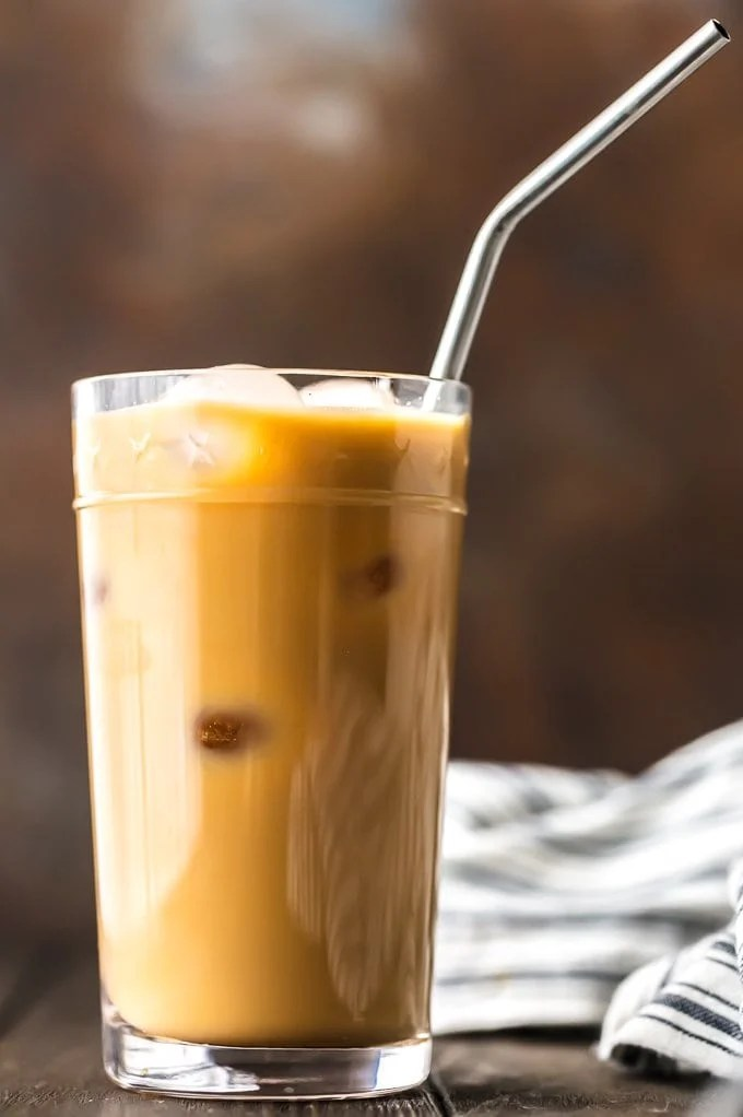 iced coffee with ice and a straw