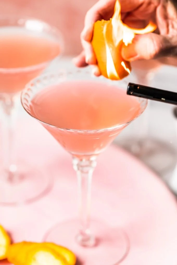 Classic cosmopolitan with a flamed orange peel