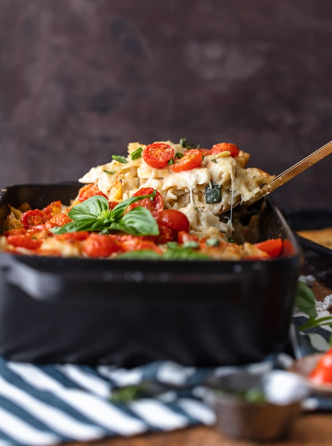 Scooping chicken alfredo pasta out of a casserole dish