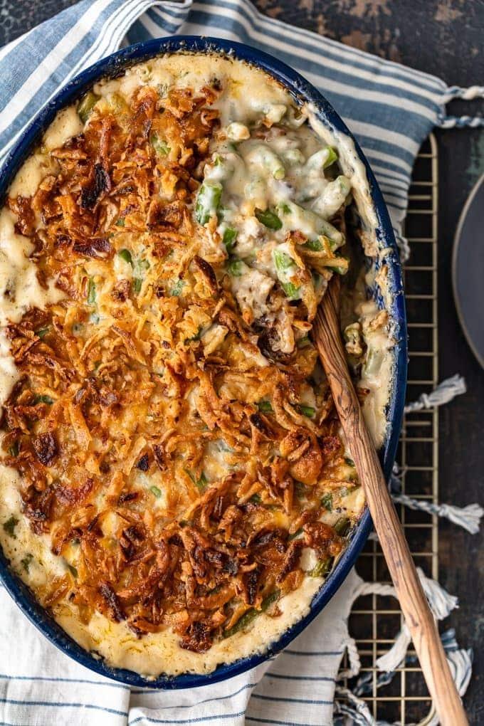 Classic green bean casserole recipe in a baking dish