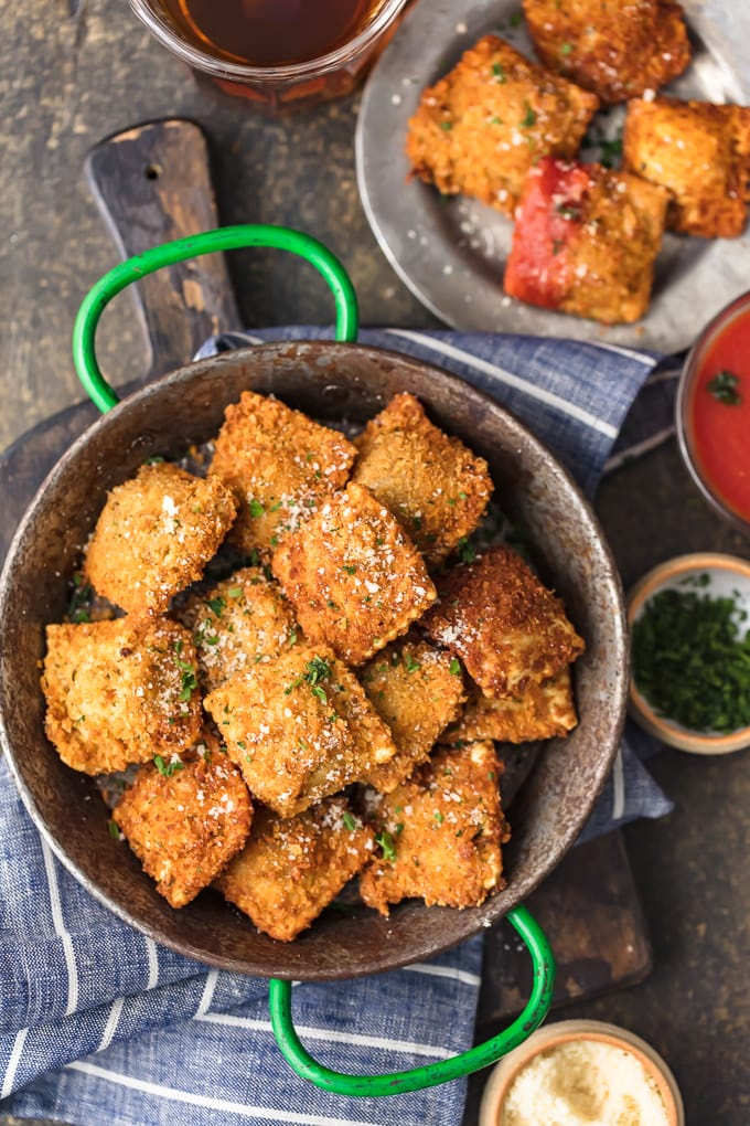 overhead view of toasted ravioli in a pan