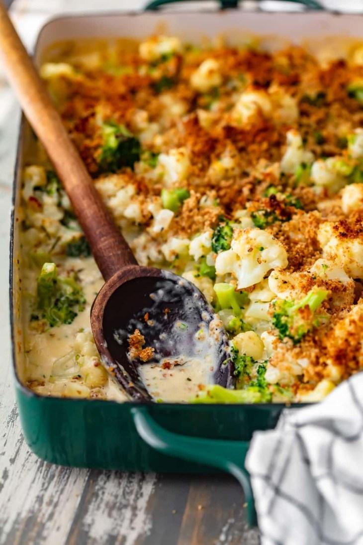 broccoli and cauliflower gratin in a baking dish