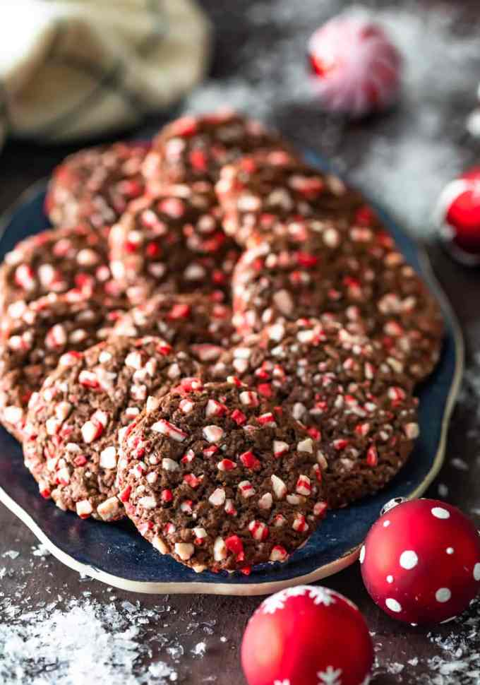 peppermint chocolate crinkle cookies arranged on a serving plate