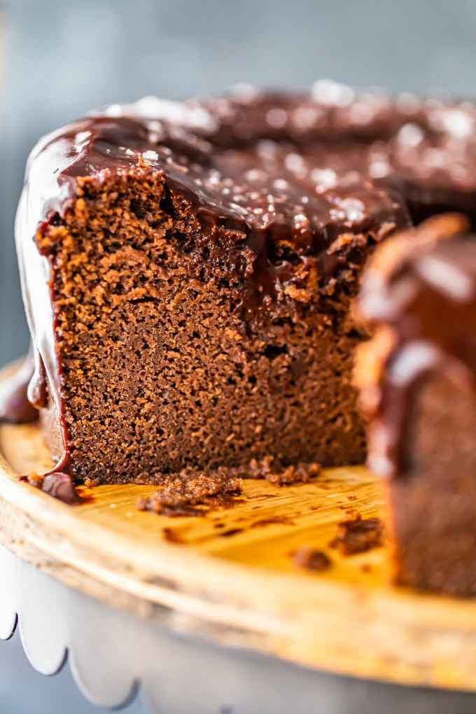 close up on a chocolate cake, with a slice taken out