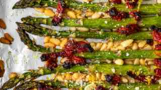 Oven Roasted Asparagus Recipe with Sun Dried Tomatoes & Parmesan