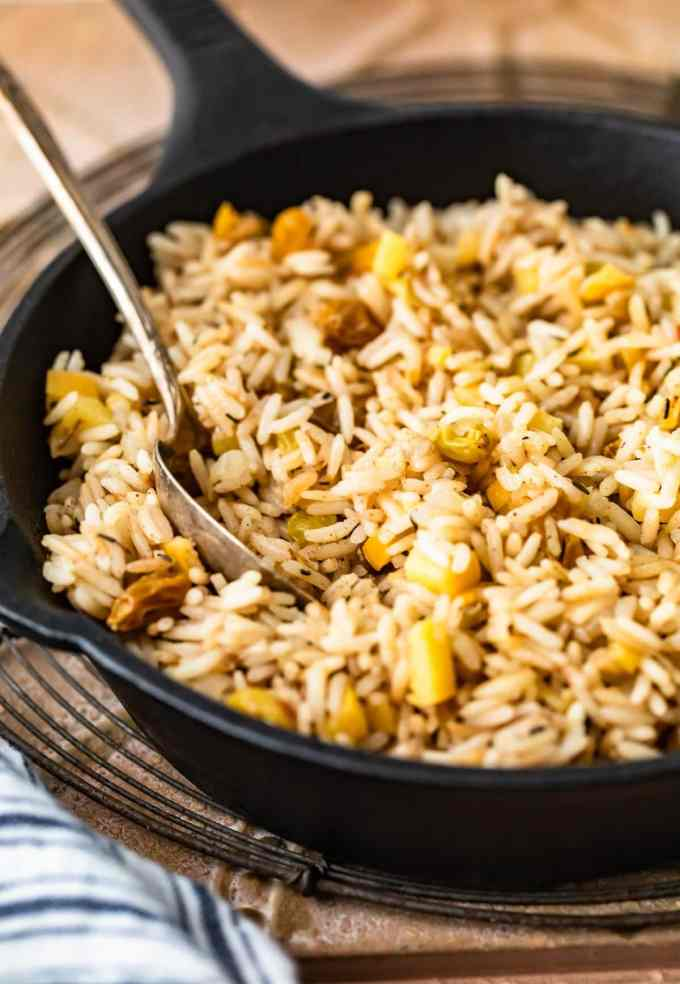 skillet of rice