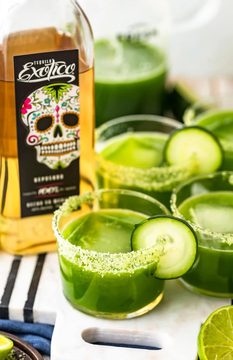 spicy cucumber margaritas made with exotico tequila