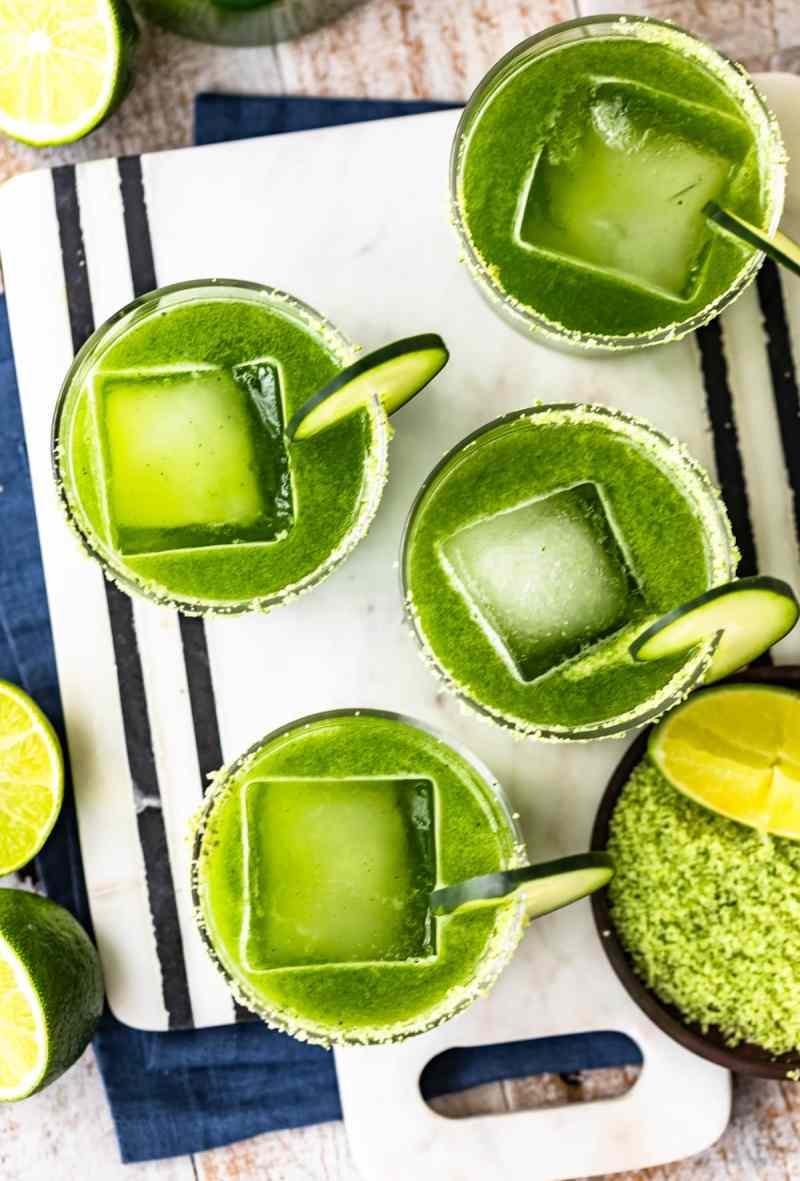 overhead picture of green cucumber jalapeno margaritas recipe