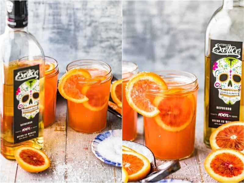 Orange cocktails next to bottles of tequila