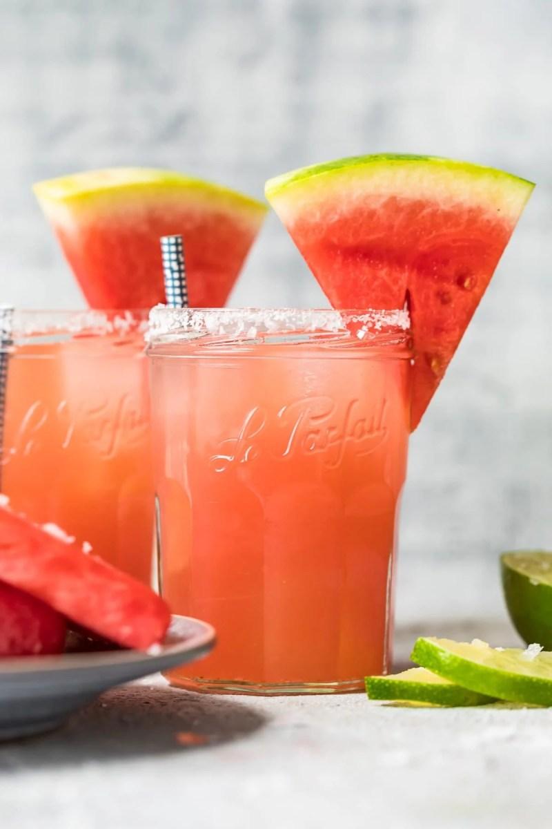 watermelon margaritas in two glasses