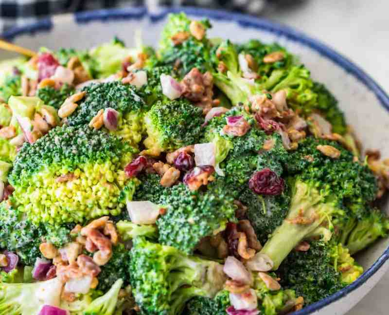 Broccoli salad with the toppings