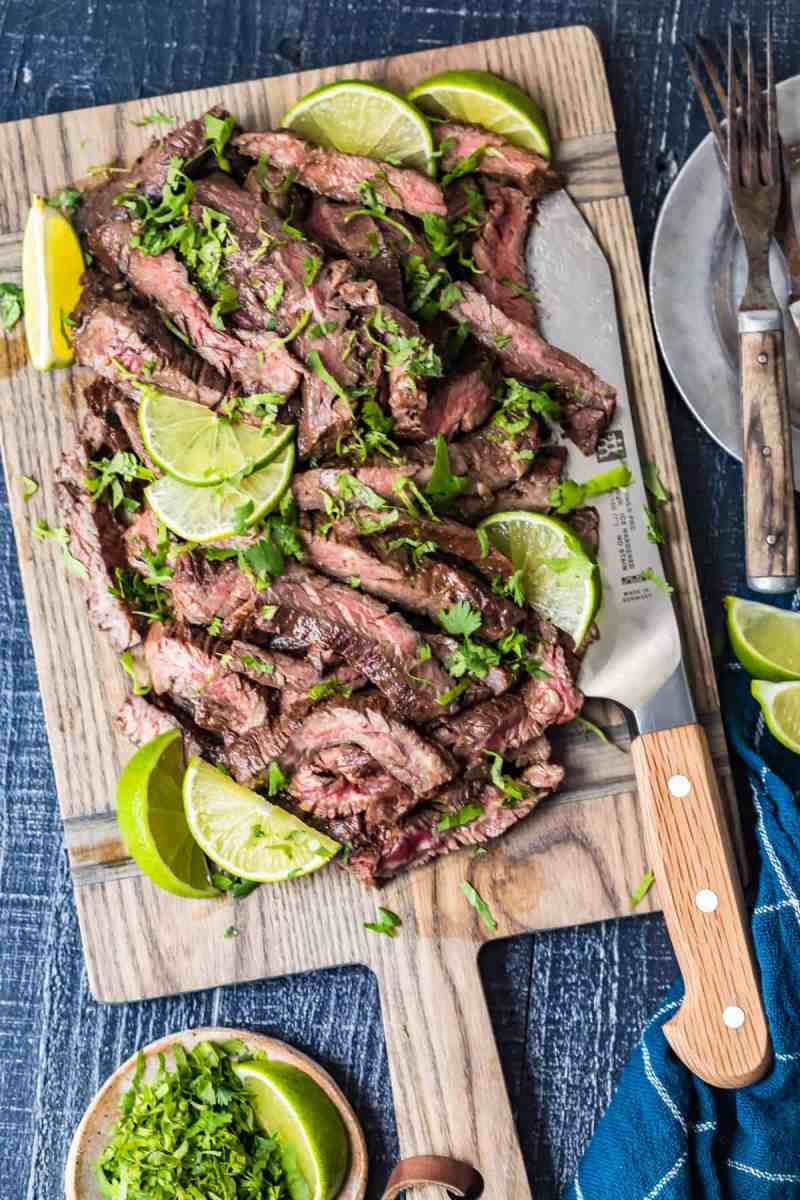 Carne Asada Steak on a wooden chopping board