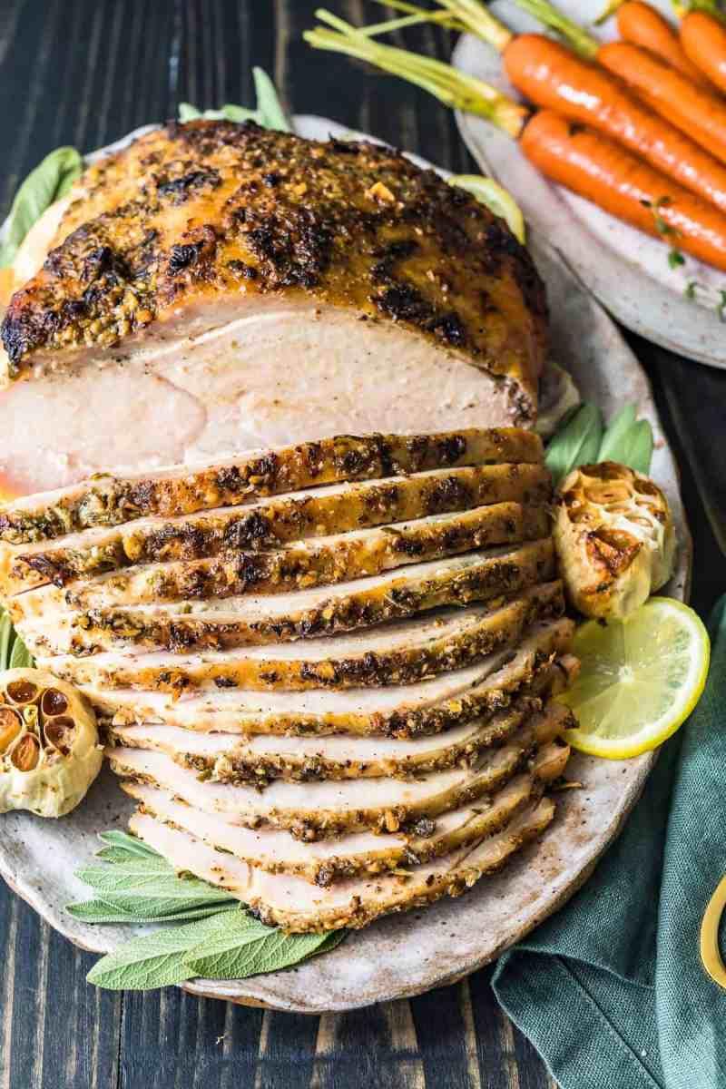 Roasted turkey breast ready to serve