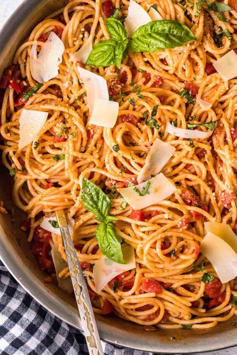 Top shot of Pasta Pomodoro