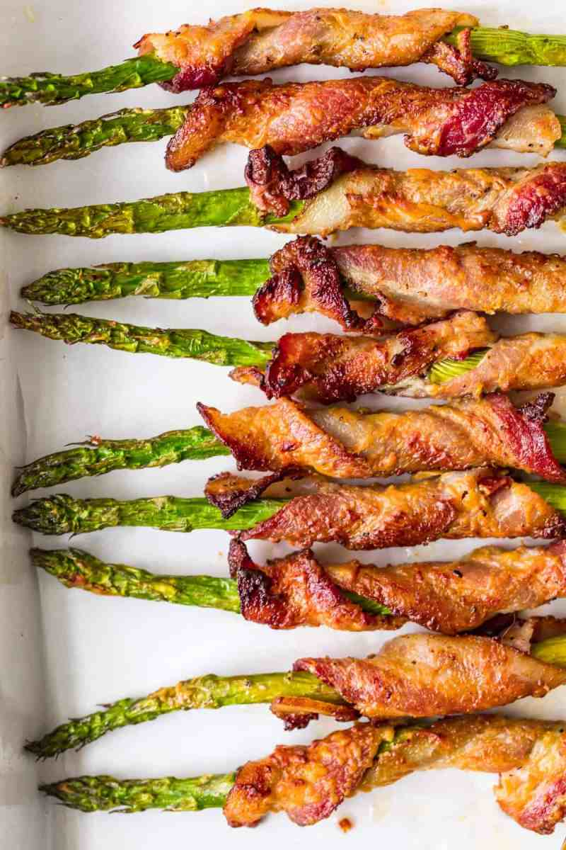 Baked Bacon Wrapped Asparagus ready to serve