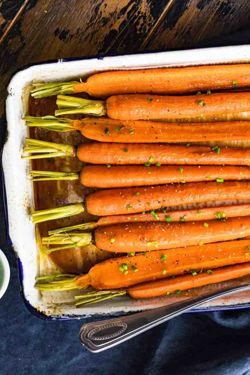 Brown Butter Glazed Carrots with their tops still on
