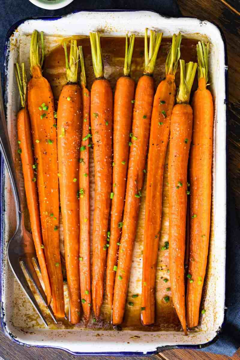 Brown Butter Glazed Carrots in a white dish