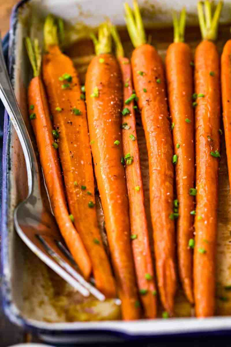 Close up of the Brown Butter Glazed Carrots