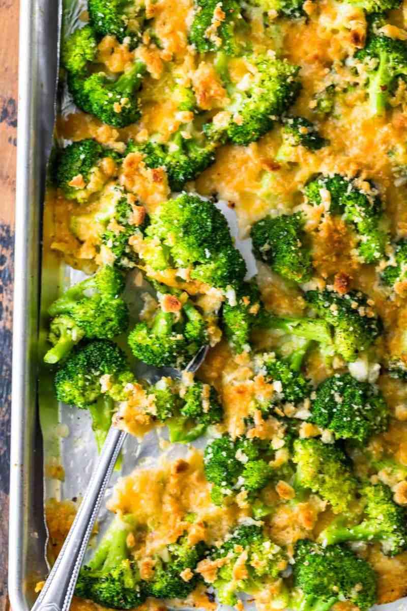 Cheesy Roasted Broccoli ready to serve