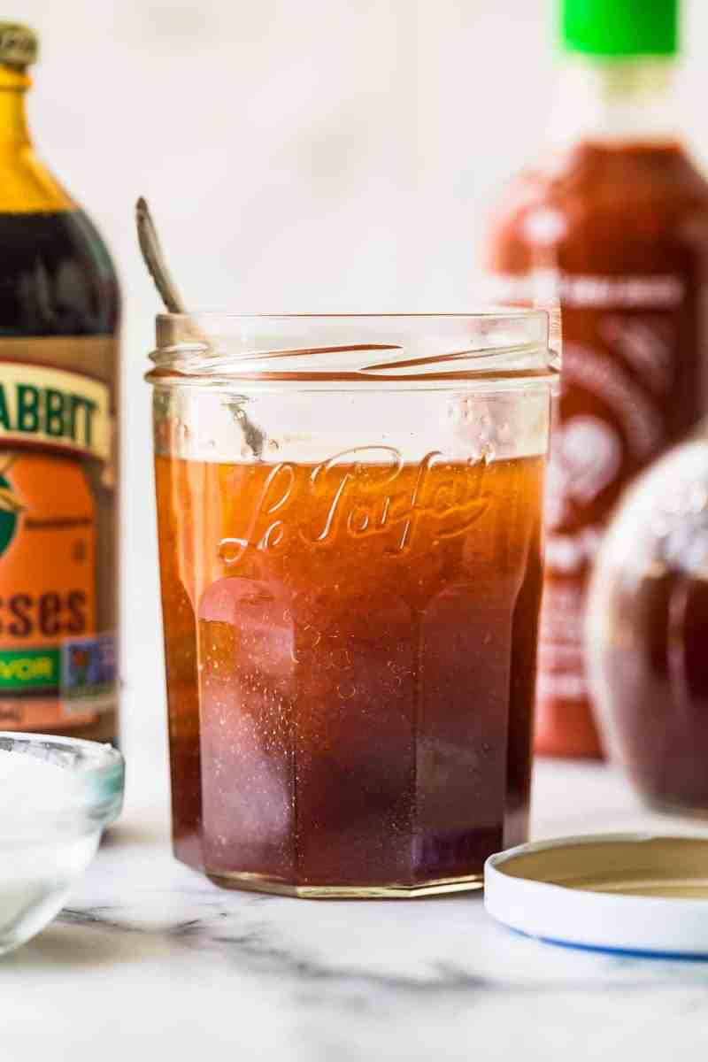 A jar of vinaigrette