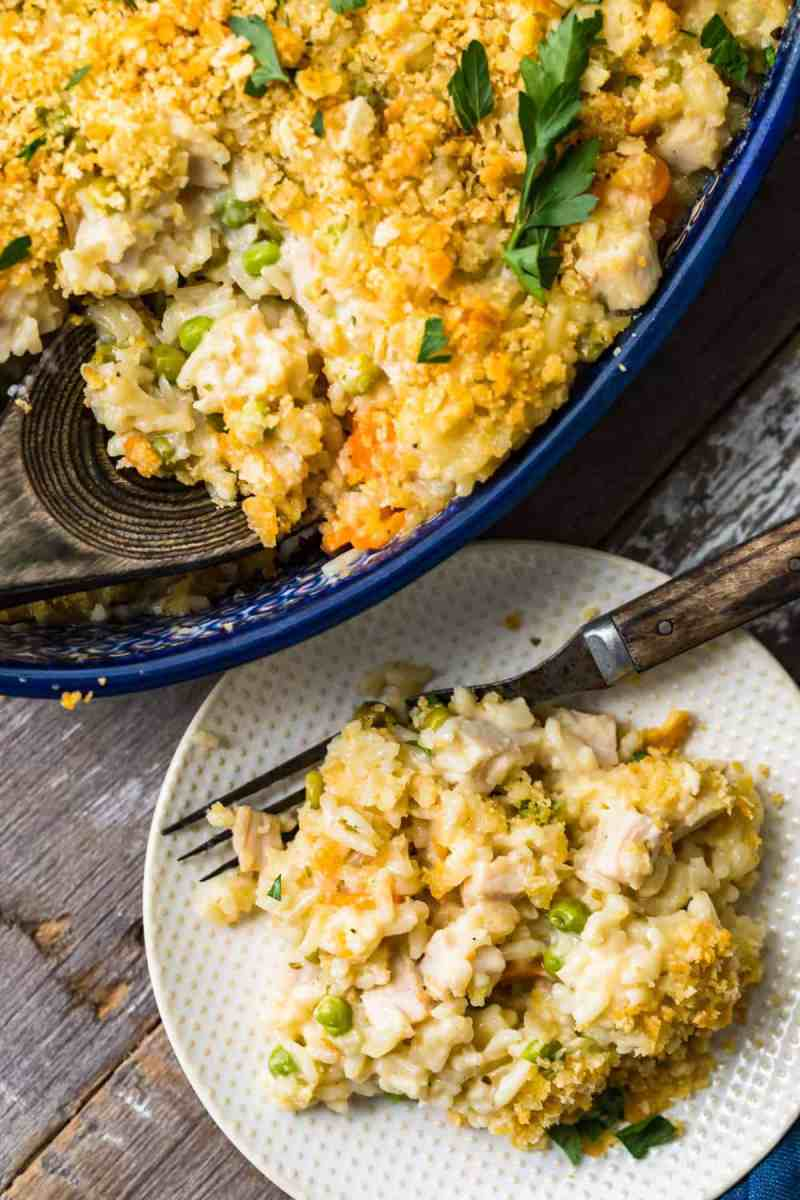 Close up of Turkey Rice Casserole on a plate with a fork