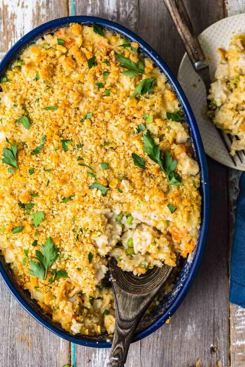 Turkey Rice Casserole garnished with fresh herbs