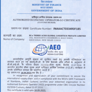 Three Aces Global Logistics recently received the prestigious AEO (Authorized Economic Operator) Certificate