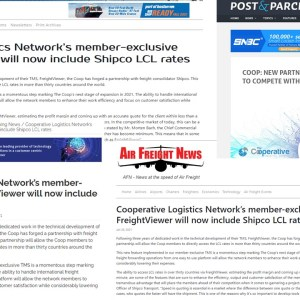 FreightViewer, the announcement about the agreement with Shipco published in the logistics media