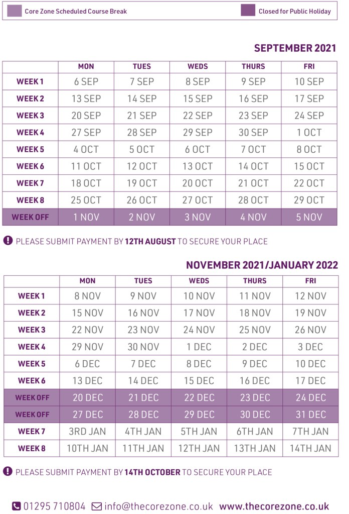 Class course dates part 2