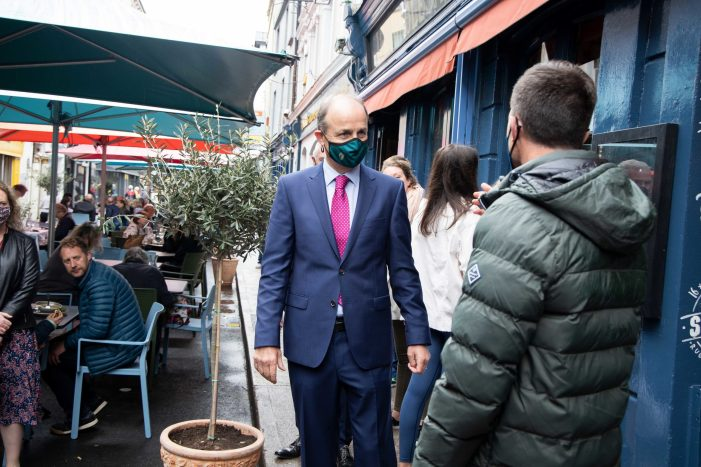 Taoiseach Micheál Martin goes walkabout in Cork City Centre, where Prince's Street is for diners, not drivers