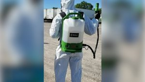 Coronavirus: Cleaners with electrostatic sprayer 'bombarded' with service calls amid pandemic