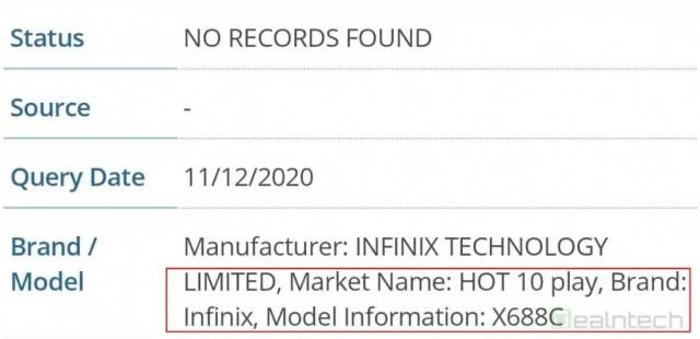 Infinix Hot 10 Play specifications and features