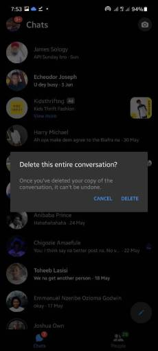 How to delete or remove someone or people from Messenger.