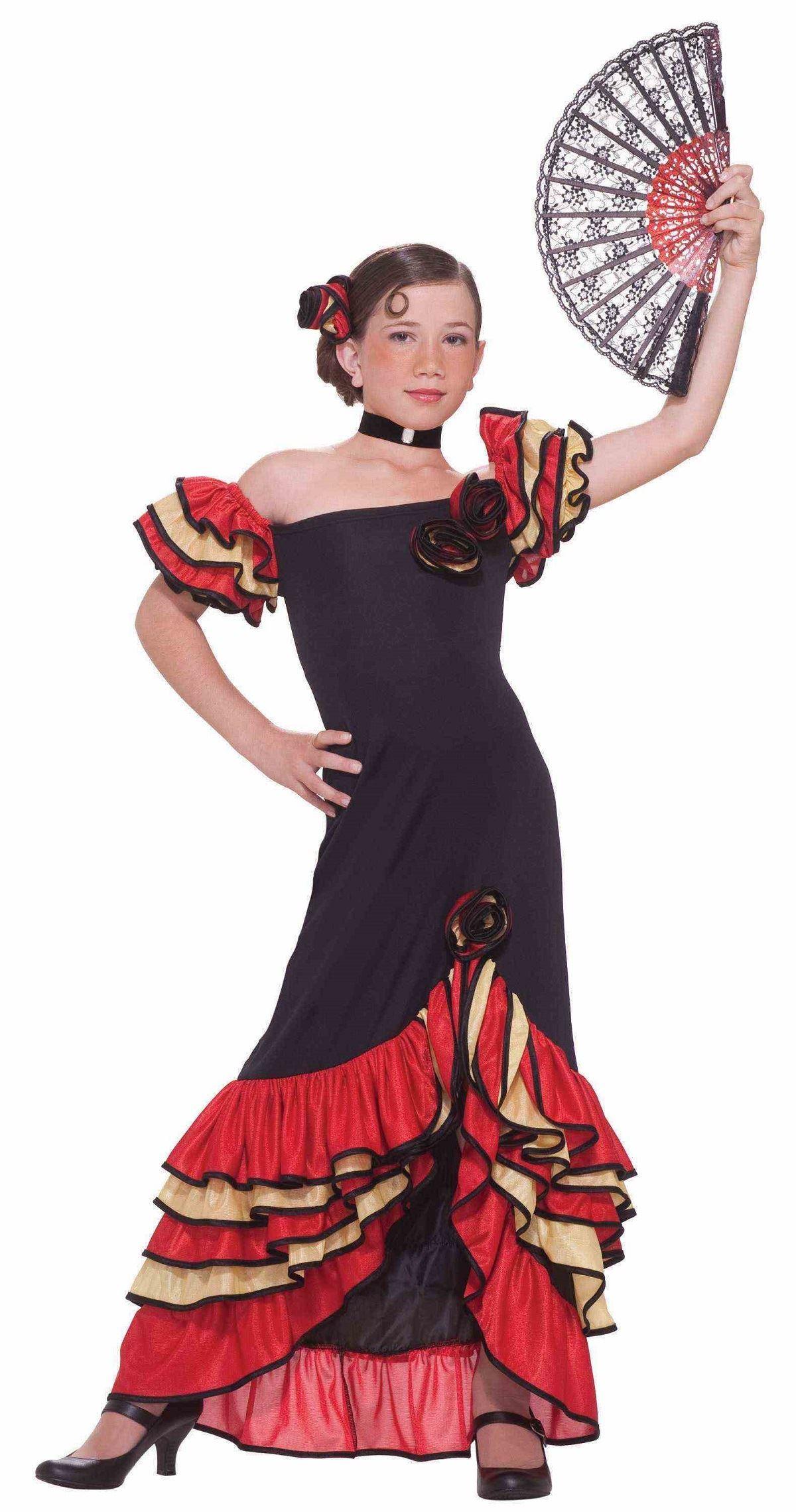 Kids Flamenco Spanish Dancer Girls Costume