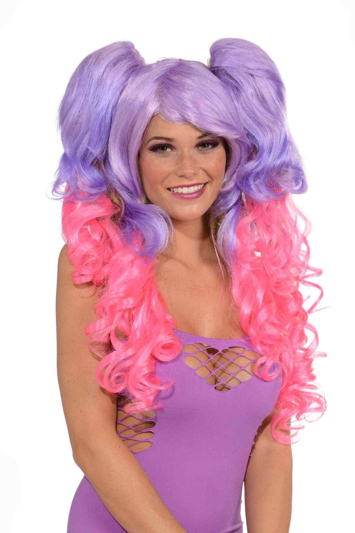 Adult Hot Pink And Purple Deluxe Wig With Pony 2245 The Costume Land
