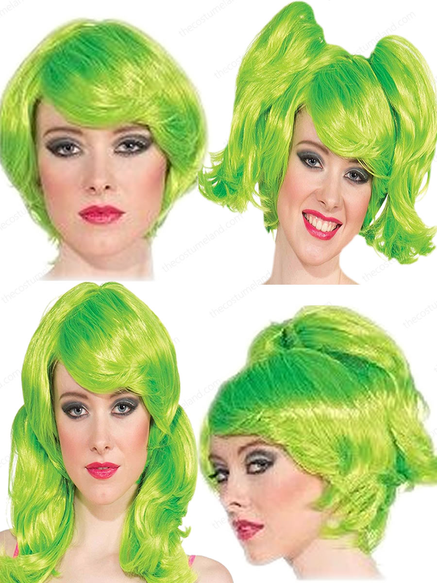 Adult Women Neon Green Short Wig With Ponies 2499 The Costume Land